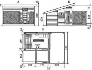Курник на 10 Кур: А - фасад; Б - вид з боку тамбура; В - загальний план курника