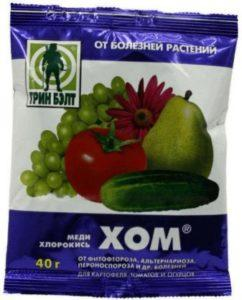 обприскування томатів розчином «Хом»
